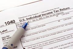 Forma de la declaración de impuestos de los E.E.U.U. Fotografía de archivo