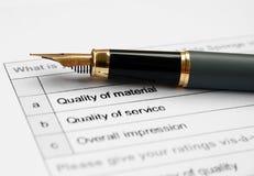 Forma de la encuesta sobre la calidad Foto de archivo
