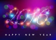 Forma 2016 de la estrella del color de la falta de definición del bokeh de la Feliz Año Nuevo Imágenes de archivo libres de regalías