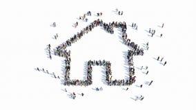 Forma de la gente de una muestra de la casa ilustración del vector