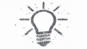 Forma de la gente de una muestra de la lámpara una idea stock de ilustración
