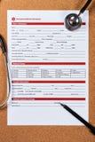 Forma de la información médica de la emergencia foto de archivo