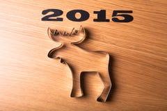 Forma de la inscripción 2015 de alces en una tabla de madera Imágenes de archivo libres de regalías