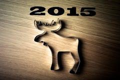 Forma de la inscripción 2015 de alces en una tabla de madera Fotografía de archivo