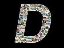 Forma de la letra de D (alfabeto latino) hecha como el collage de la foto del viaje Imagenes de archivo