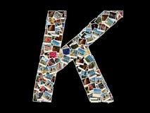 Forma de la letra de K hecha como el collage de las fotos del viaje Fotografía de archivo