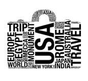 Forma de la maleta con palabras del concepto del World Travel representación 3d Imagenes de archivo