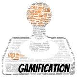 Forma de la nube de la palabra de Gamification Fotografía de archivo