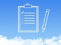 Forma de la nube del documento de papel de la libreta foto de archivo
