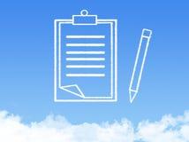 Forma de la nube del documento de papel de la libreta fotografía de archivo libre de regalías