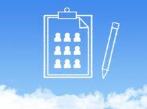 Forma de la nube del documento de papel de la libreta fotos de archivo