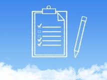 Forma de la nube del documento de papel de la libreta fotos de archivo libres de regalías