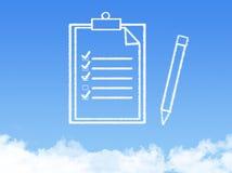Forma de la nube del documento de papel de la libreta imagenes de archivo