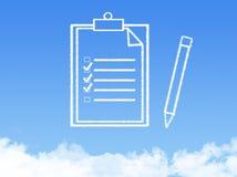 Forma de la nube del documento de papel de la libreta imagen de archivo