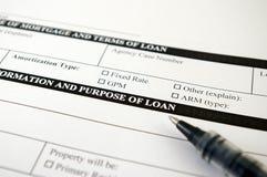 Forma de la petición del préstamo Fotos de archivo libres de regalías