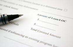 Forma de la petición del préstamo Imágenes de archivo libres de regalías