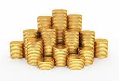 Forma de la pirámide de las monedas de oro Imágenes de archivo libres de regalías