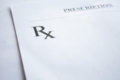 Forma de la prescripción de RX en blanco Imagenes de archivo