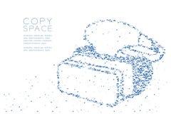 Forma de la realidad virtual de las auriculares el pixel de la caja cuadrada del polígono y del modelo bajos geométricos abstract Imagen de archivo