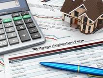 Forma de la solicitud de hipoteca con una calculadora y una casa. stock de ilustración