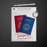 Forma de la solicitud de visado Imagen de archivo libre de regalías
