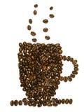 Forma de la taza con los granos de café Imagen de archivo
