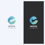 Forma de onda abstracta de agua Logo Design Template Tema del negocio corporativo Cosméticos, concepto del deporte de la resaca E Fotografía de archivo