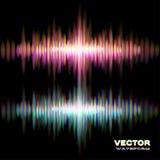 Forma de onda brilhante do som estéreo ilustração do vetor