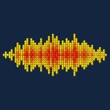 forma de onda del sonido del amarillo 3D hecha de cubos ilustración del vector