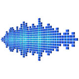 Forma de onda sadia azul da perspectiva feita dos cubos Imagens de Stock