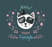 Forma de vida del maullido - garabato Kitty Gato lindo de la moda en gafas de sol - vector la postal Carácter divertido de los an ilustración del vector