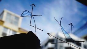 Forma de vida: gráficos de negocio hermosos de la matemáticas de la limpieza de la mujer joven del vidrio con el cielo azul, rasc metrajes