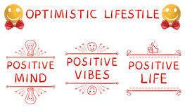 Forma de vida optimista: mente positiva, ambientes positivos, elementos dibujados mano positiva de la vida y esfera amarilla real Foto de archivo
