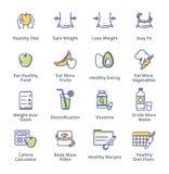 Forma de vida sana - iconos de dieta - serie del esquema Fotos de archivo libres de regalías