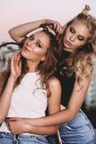 Forma de vida y concepto de la gente: Retrato de la moda de dos mejores amigos elegantes de las muchachas que llevan las faldas d Fotos de archivo