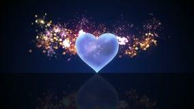 A forma de vidro e os fogos-de-artifício do coração dão laços na animação 4k (4096x2304) filme