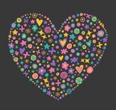 Forma decorativa do coração das flores ilustração do vetor