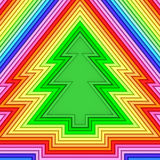 Forma del árbol de navidad integrada por tubos metálicos coloridos Foto de archivo