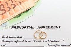 Forma del acuerdo Prenuptial y dos anillos de bodas Foto de archivo libre de regalías