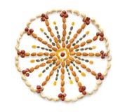 Forma del círculo de las nueces y de las semillas Imágenes de archivo libres de regalías