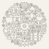 Forma del cerchio di Patrick Day Line Icons Set del san Immagine Stock Libera da Diritti