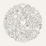 Forma del cerchio di Valentine Day Line Icons Set Fotografia Stock