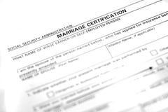 Forma del certificato di matrimonio Fotografia Stock