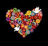 Forma del corazón con el hippie simbólico y las palomas Fotografía de archivo libre de regalías
