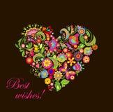Forma del corazón con las flores decorativas Fotos de archivo libres de regalías