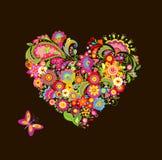 Forma del corazón con las flores decorativas Fotografía de archivo