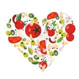 Forma del coraz?n con los iconos mediterr?neos Ingredientes - tomate, aceituna, cebolla, pimienta, seta, pastas, queso, chile, aj ilustración del vector