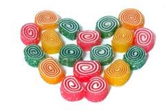 Forma del corazón de la azufaifa coloreada Imagen de archivo libre de regalías