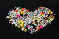 Forma del corazón de la estrella de papel del plegamiento Imagen de archivo libre de regalías