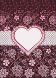 Forma del corazón de la tarjeta del día de San Valentín. Tarjeta del día de fiesta. Imagen de archivo